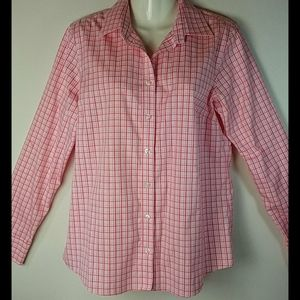 Lands' End Pink, Red & White Plaid No Iron Shirt